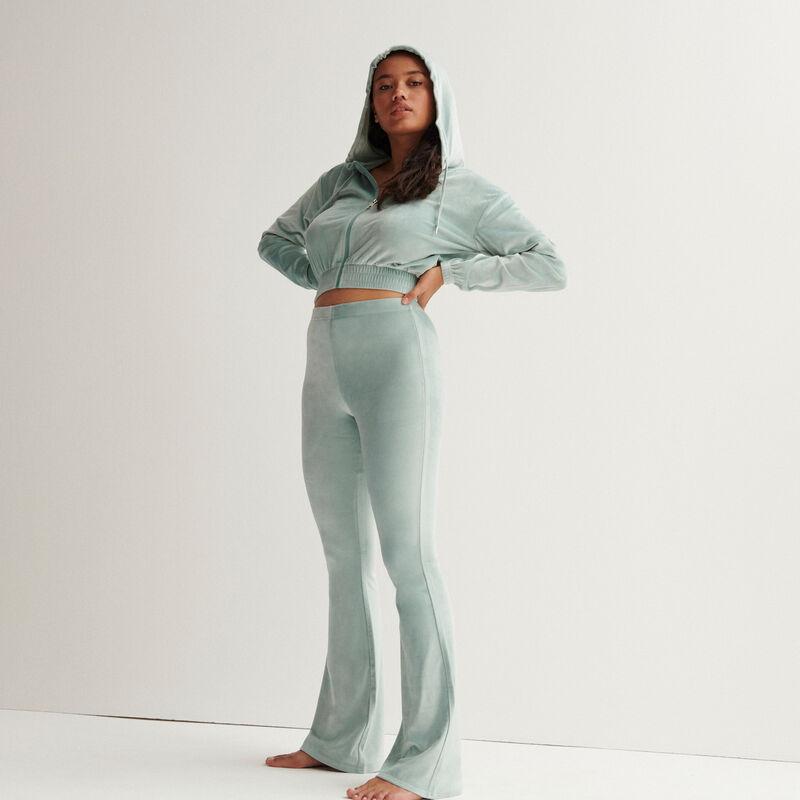 chaqueta crop de terciopelo con talle elástico - verde agua;
