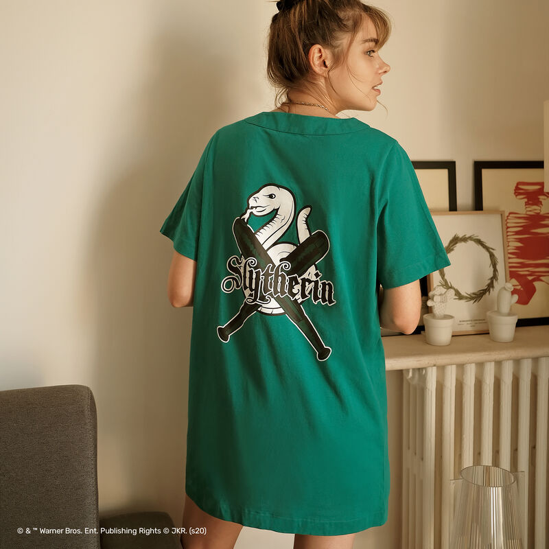 camiseta larga Slytherin - verde;