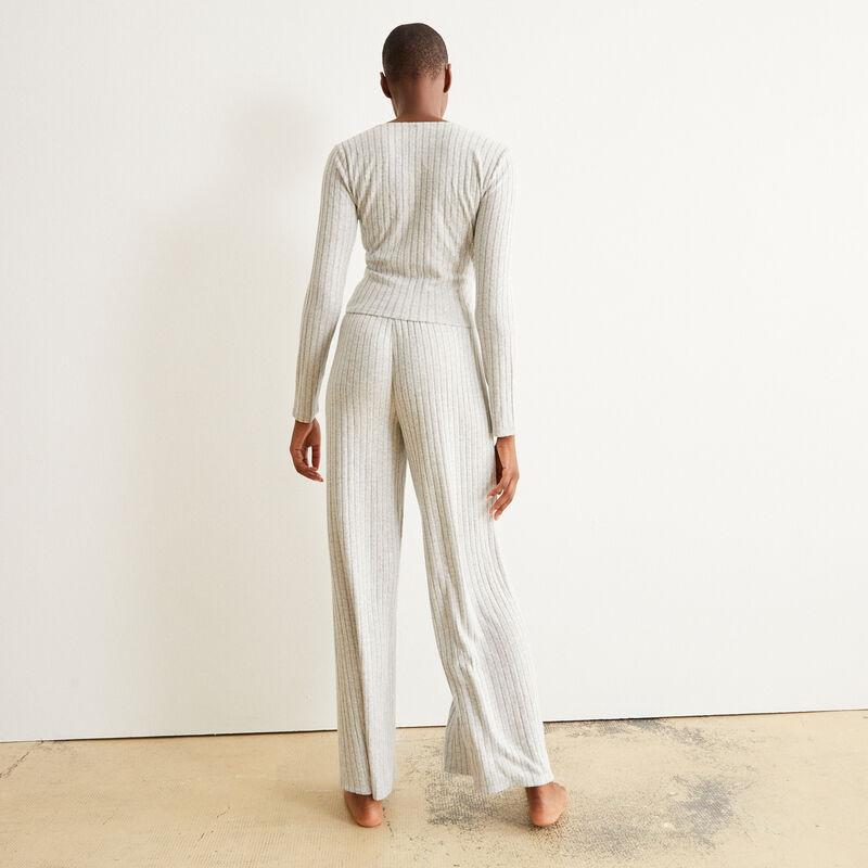 pantalón ancho con cordón para atar - gris;