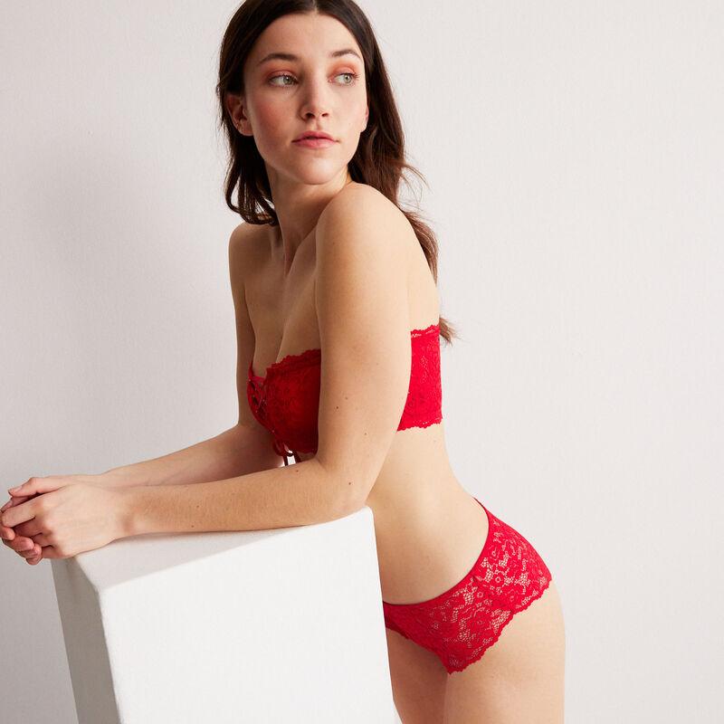 braguita culotte de encaje de flores - roja;