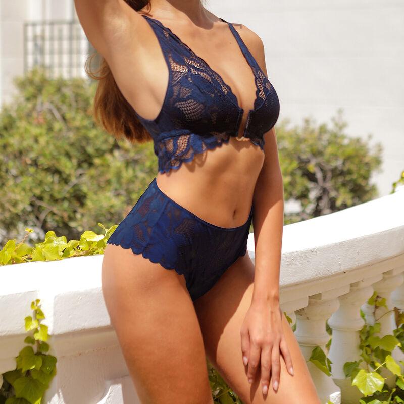 Braguita de talle alto de encaje - azul marino;
