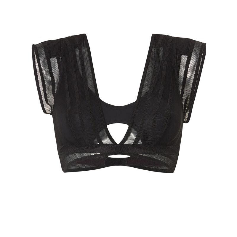 Sujetador sin aros con encaje en los hombros - negro;