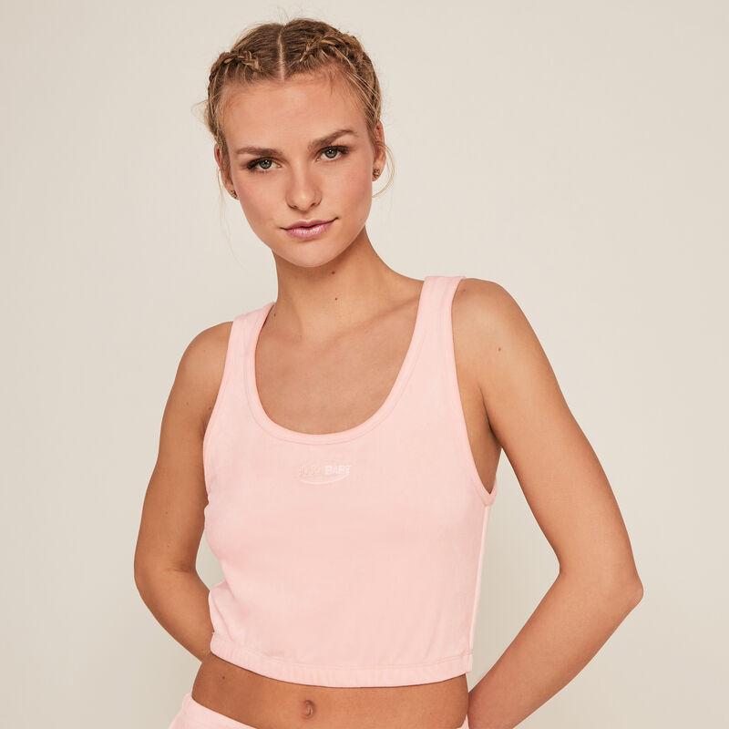 Top corto de terciopelo - rosa;