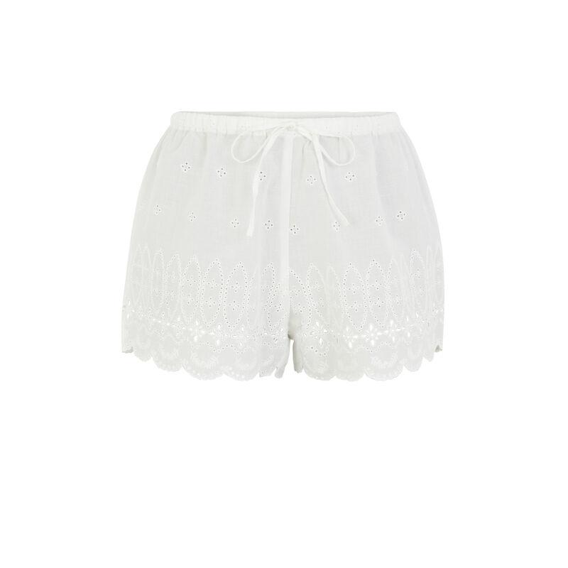 Short de algodón bordado - blanco;