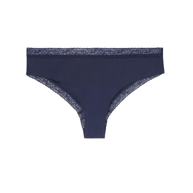 Braguita culotte de microfibra y encaje - azul marino;