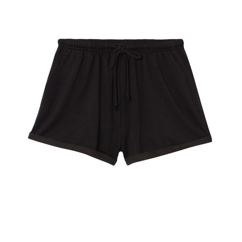 shorts lisos con detalle de cordón - negro;