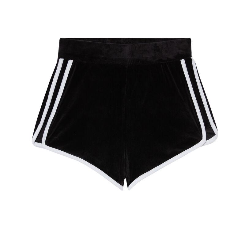 Shorts de terciopelo - negro;