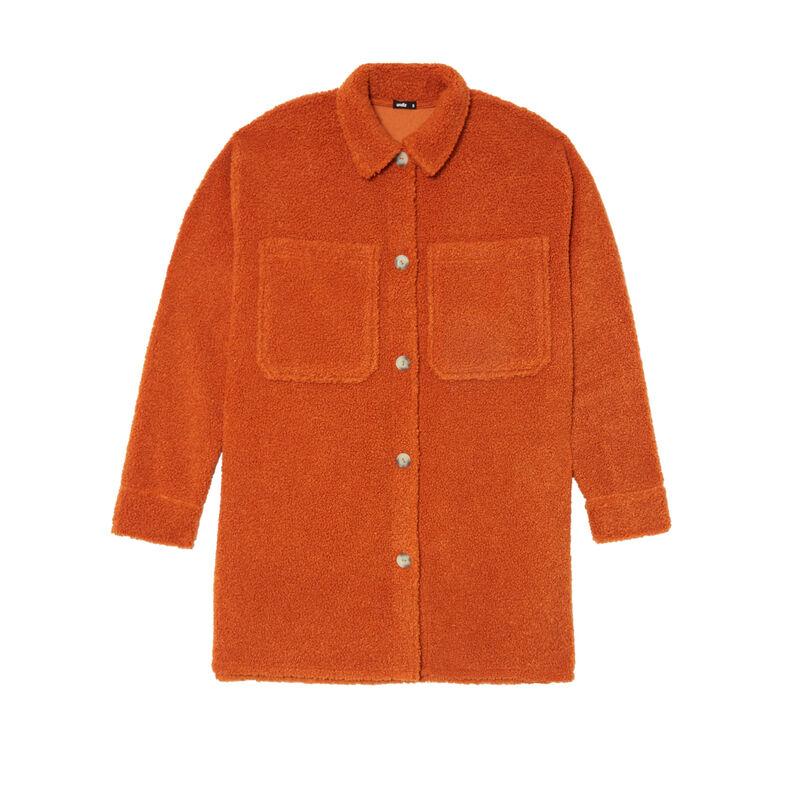 chaqueta oversize de rizo - cámel;