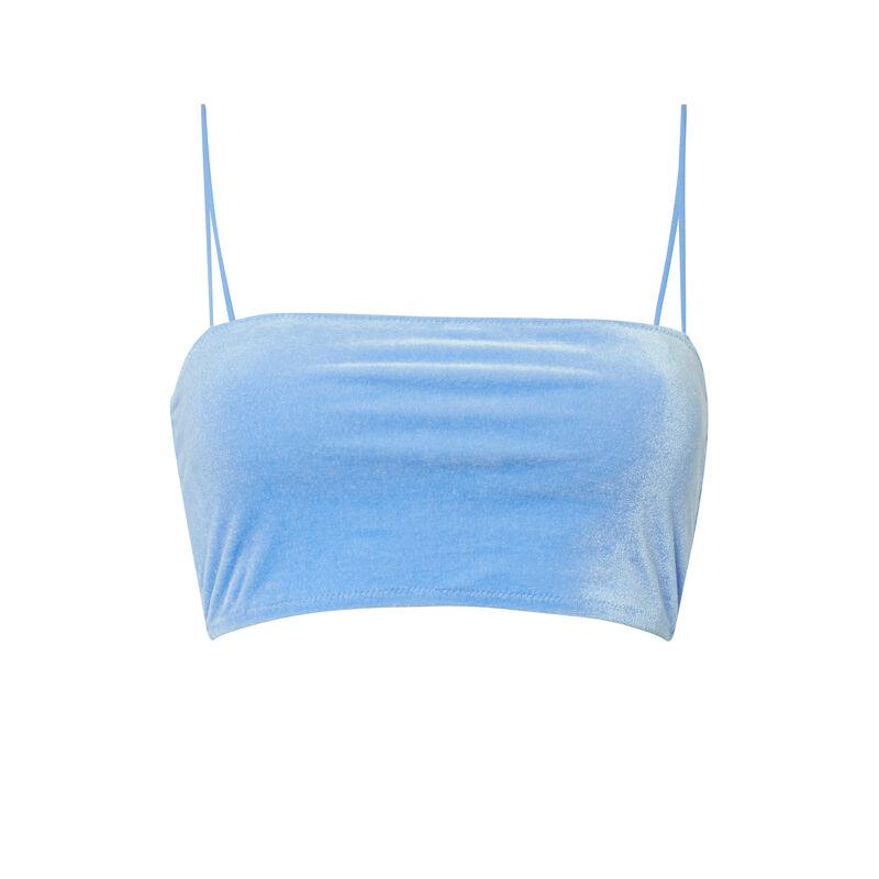 Parte de arriba del bikini con banda de terciopelo - azul;