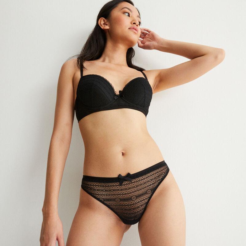 Braguita tanga de encaje con detalle de nudo - negra;