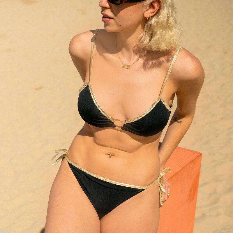 Parte de arriba de bikini sujetador con detalle de anilla dorada - negro;