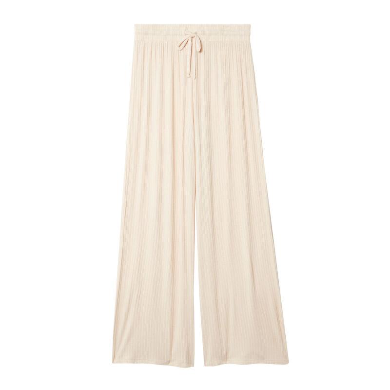 pantalón acampanado de punto - crema;