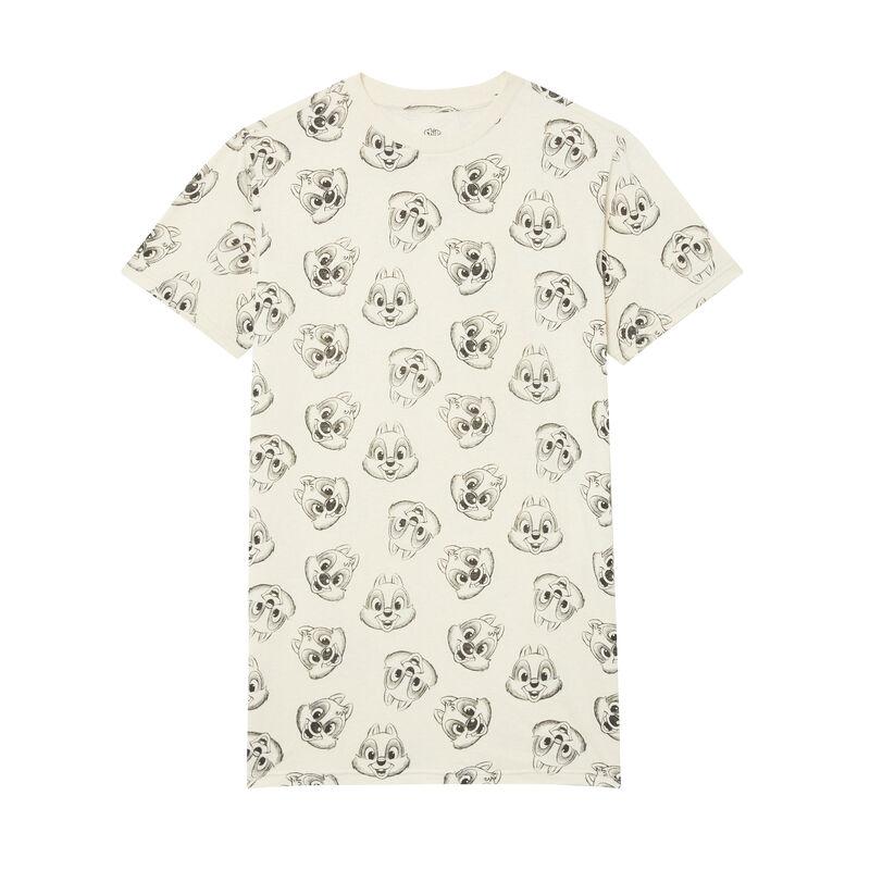 camiseta larga con motivos de Chip y Chop - beige;