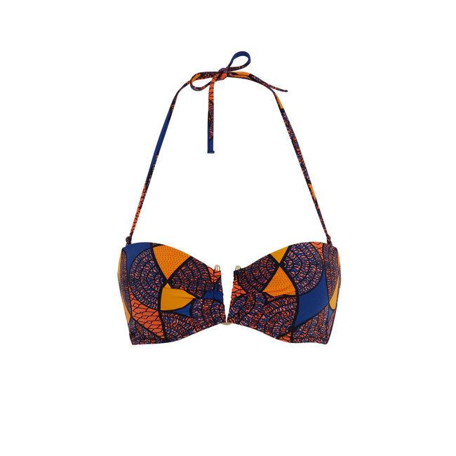 Parte de arriba de bikini bandeau azul afroiz;