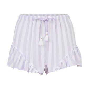 Short morado con rayas blancas dourayuriz purple.