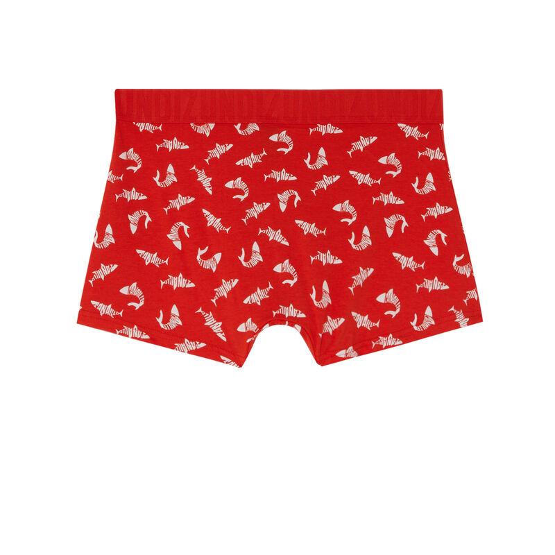 bóxer con motivos de tiburones - rojo;