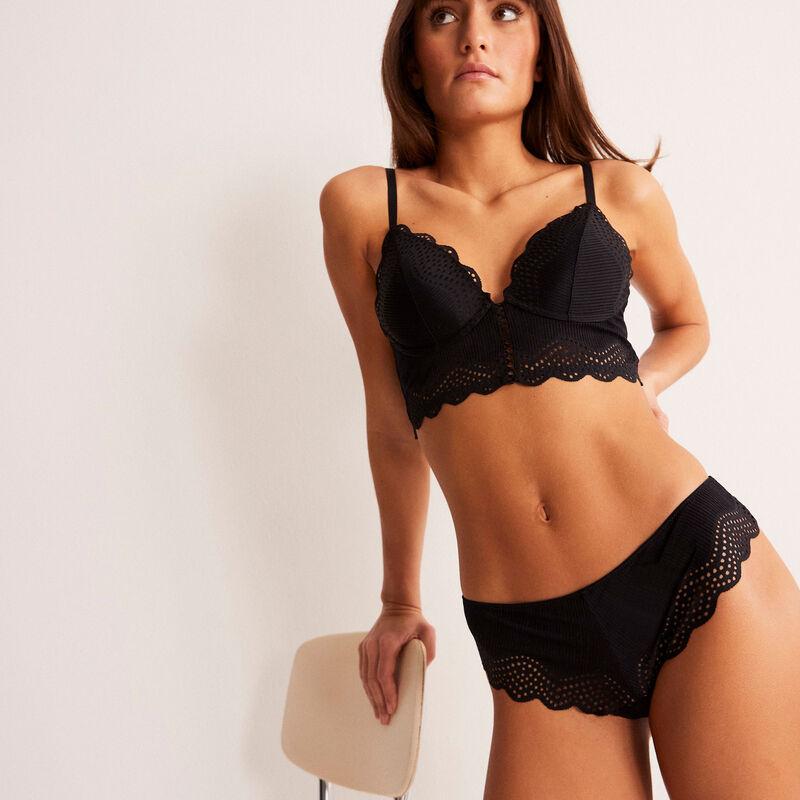 Braguita brasileña con detalle de encaje - negra;