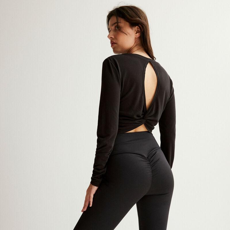 top con la espalda descubierta efecto twist - negro ;