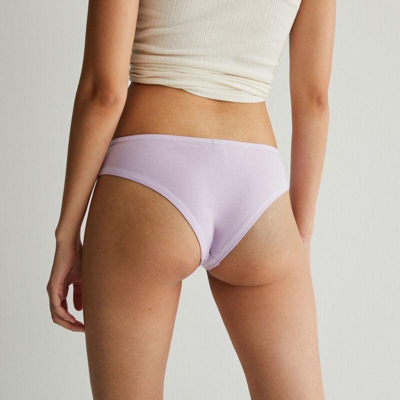 Culotte de algodón con costuras blancas visibles - lila;