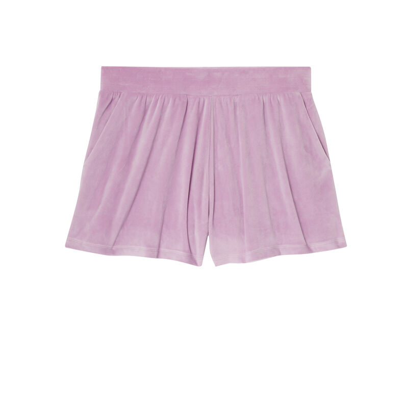 Pantalón corto liso de terciopelo - morado;