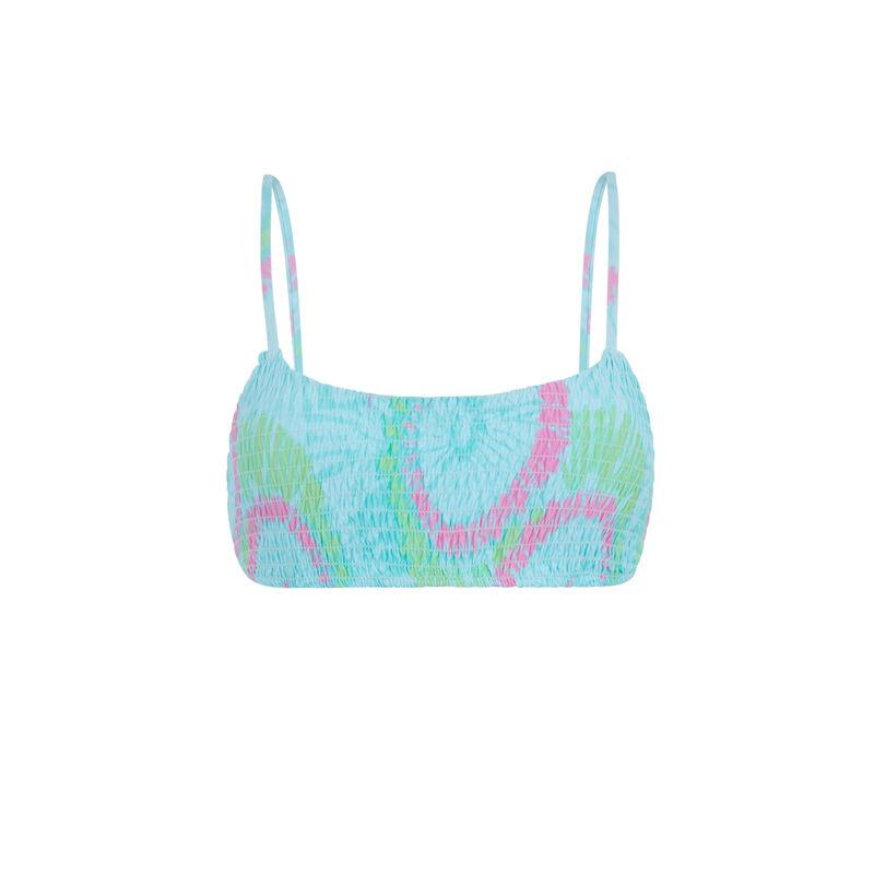 Parte de arriba de bikini sujetador con estampado - azul turquesa;