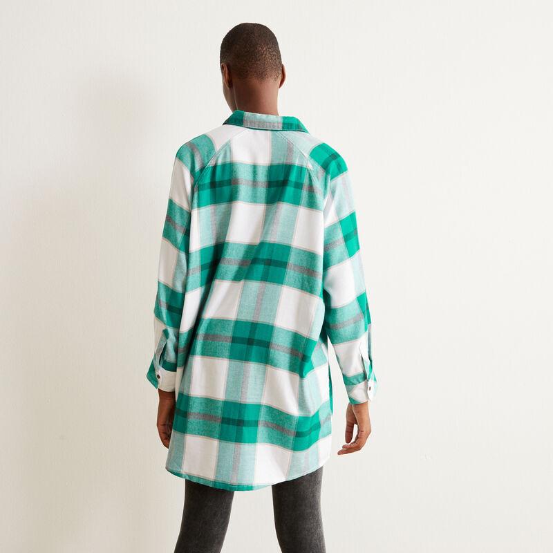 camiseta larga a cuadros - verde;