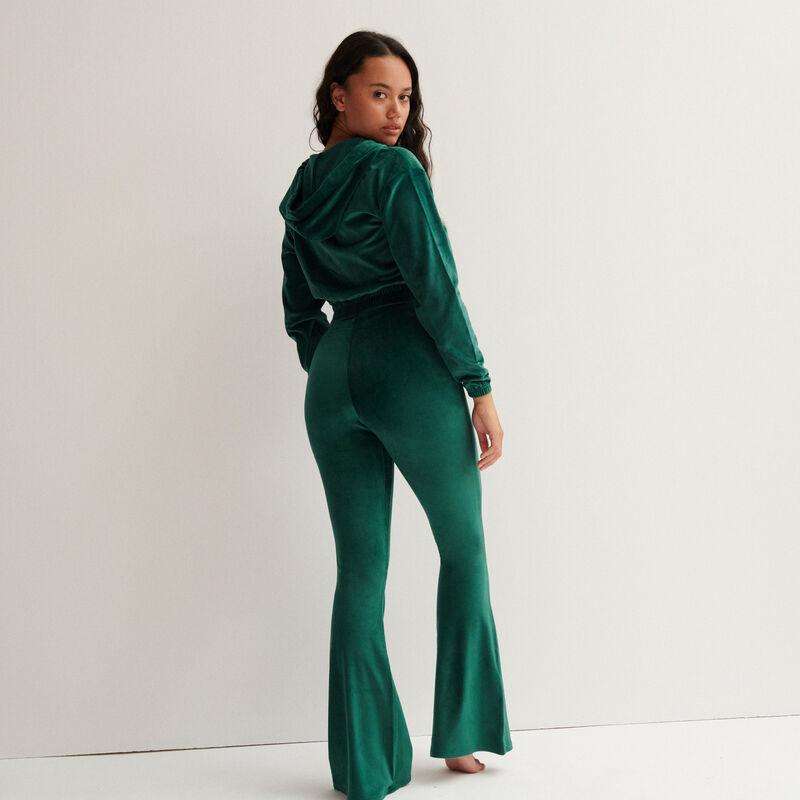 pantalón de talle alto patas def de terciopelo - verde pino;
