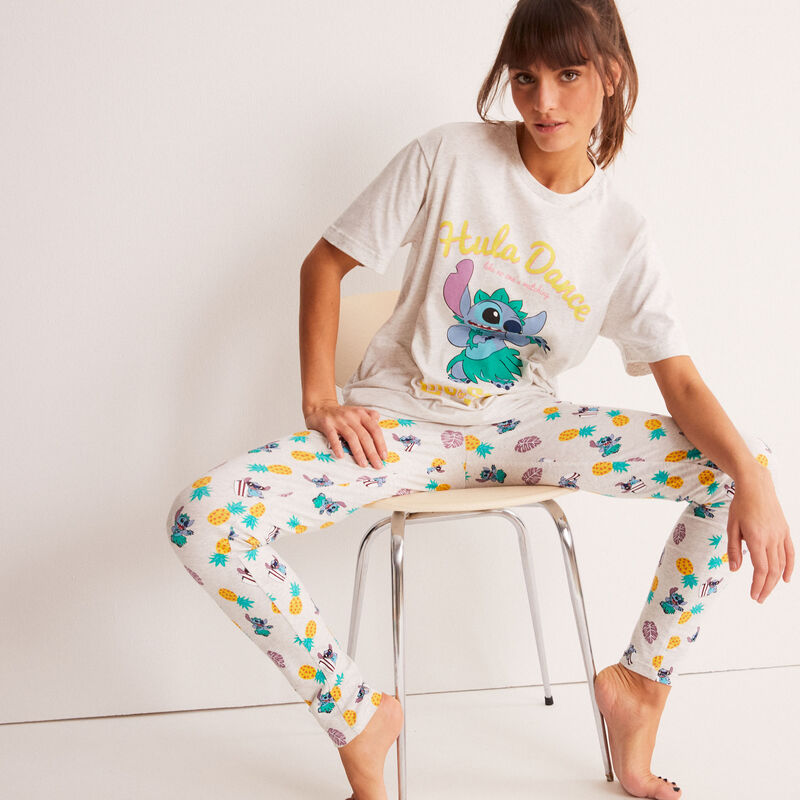 leggings con motivos de Stitch Hula Dance - crudo;