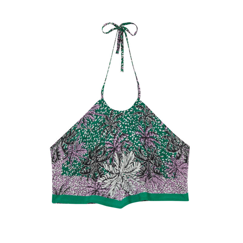 Top con la espalda desnuda efecto fular con motivos de palmera - verde;