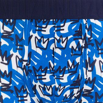 Bóxer de algodón con estampado de coronas baskingiz azul.