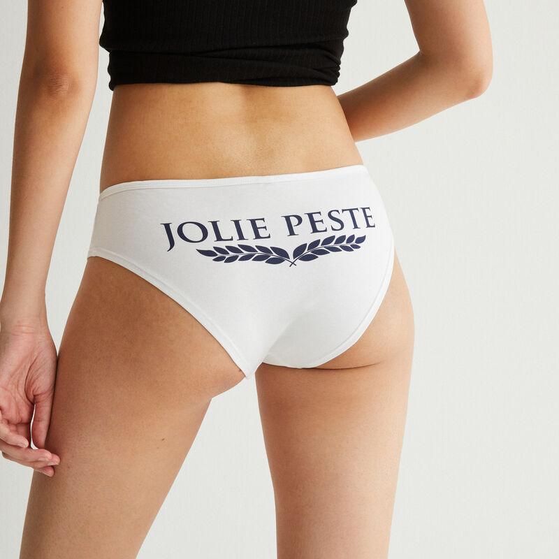 braguita culotte con mensaje jolie peste - blanca;