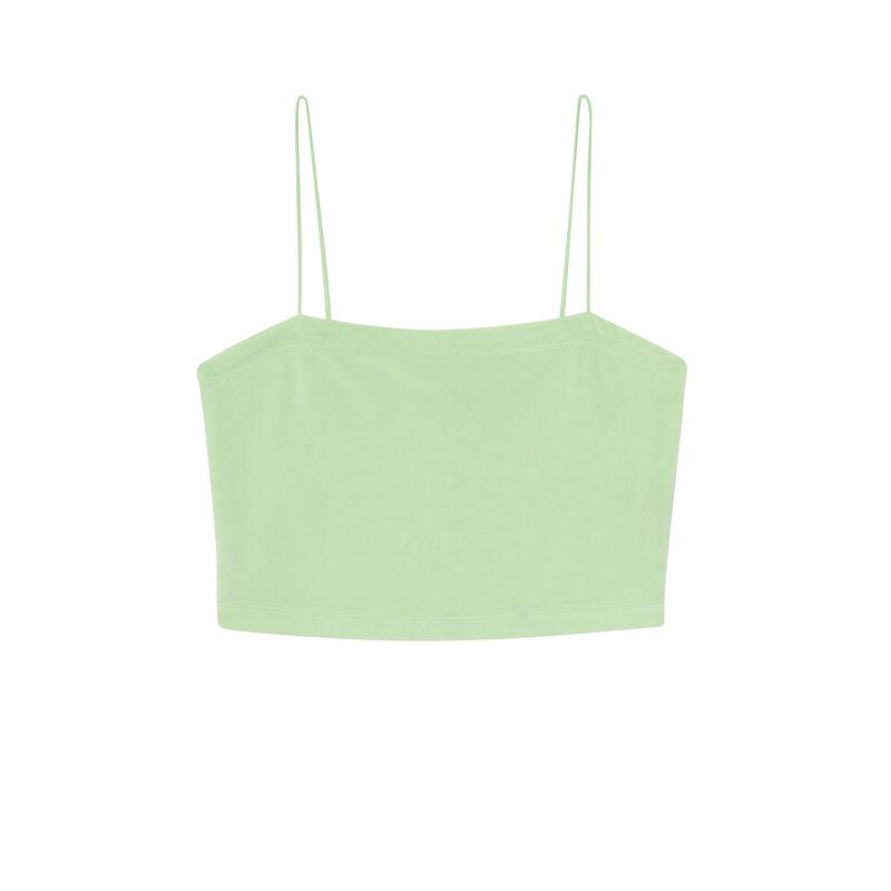 Top de terciopelo con tirantes finos - verde ;