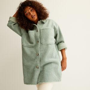 chaqueta oversize de rizo - verde agua