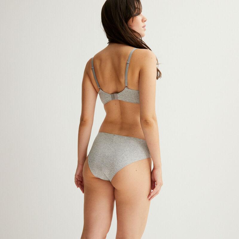 cheeky bikini de algodón liso - gris;