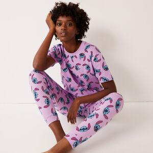 pantalón con estampado de Stitch - morado