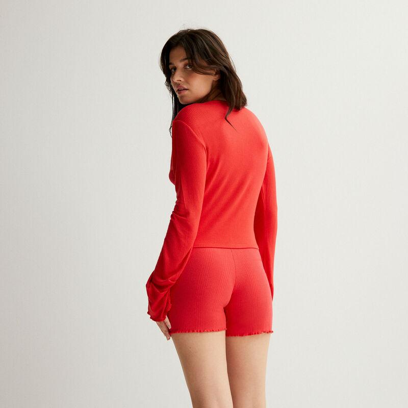 shorts acanalados de punto - rojo;