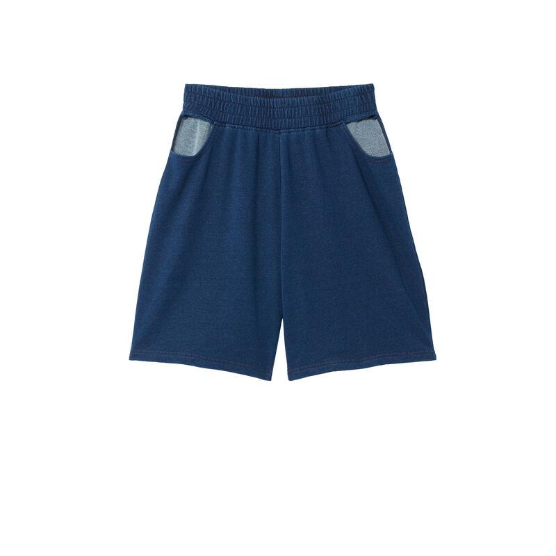 pantalones cortos caderas caladas - azul;