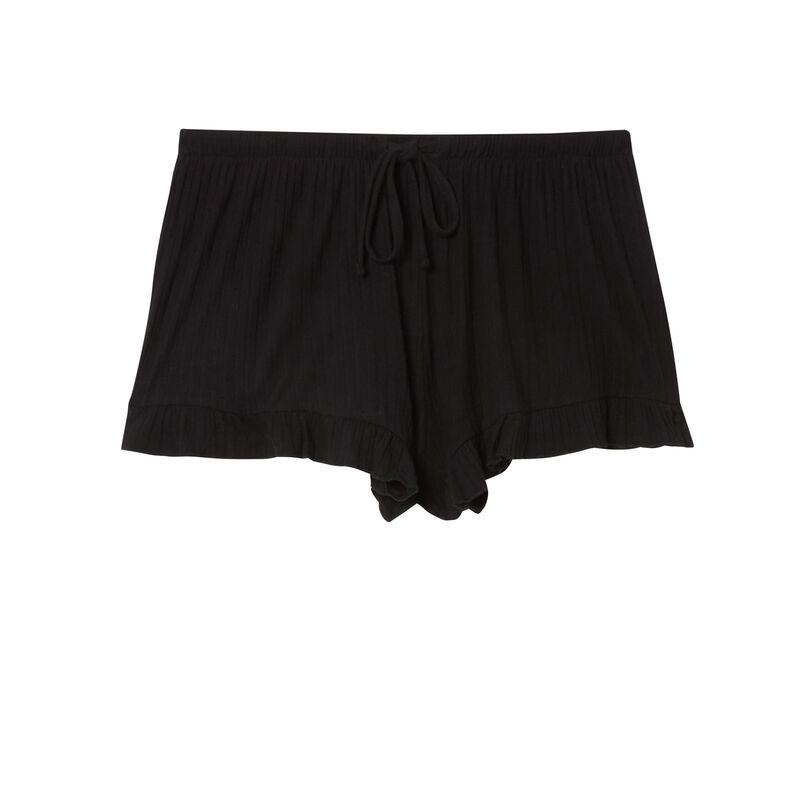 pantalón corto con volantes y lazos escotado - negro;