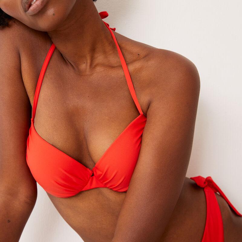 Parte de arriba de bikini push-up con espalda abierta - rojo;