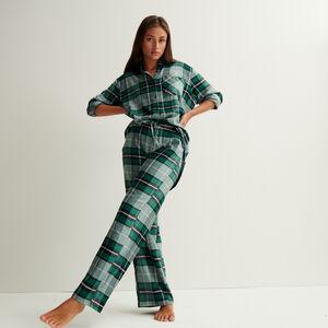 pantalón de cuadros de cintura amplia fruncida y anudada - verde pino