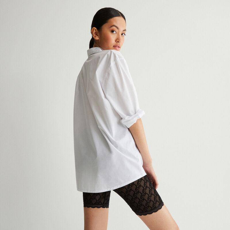camisa de manga larga efecto boyfriend - blanca;