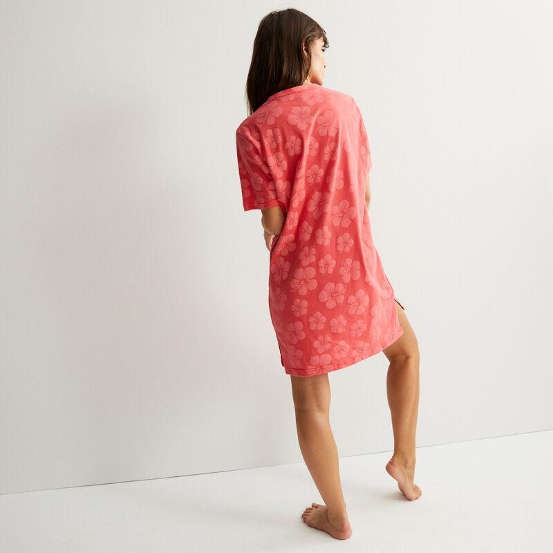 Camiseta larga con motivos tropicales Stitch - coral;