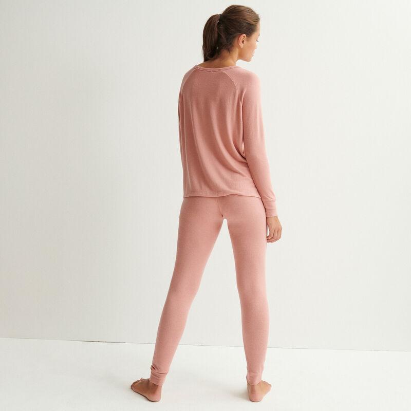 Pantalón de punto - rosa nude;