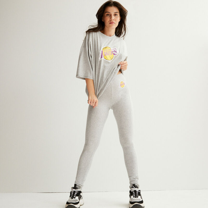 top oversize los angeles lakers - gris;