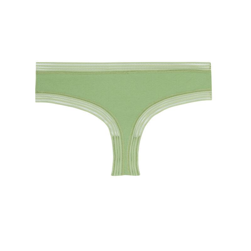 Braguita culotte con bordes de encaje - verde;