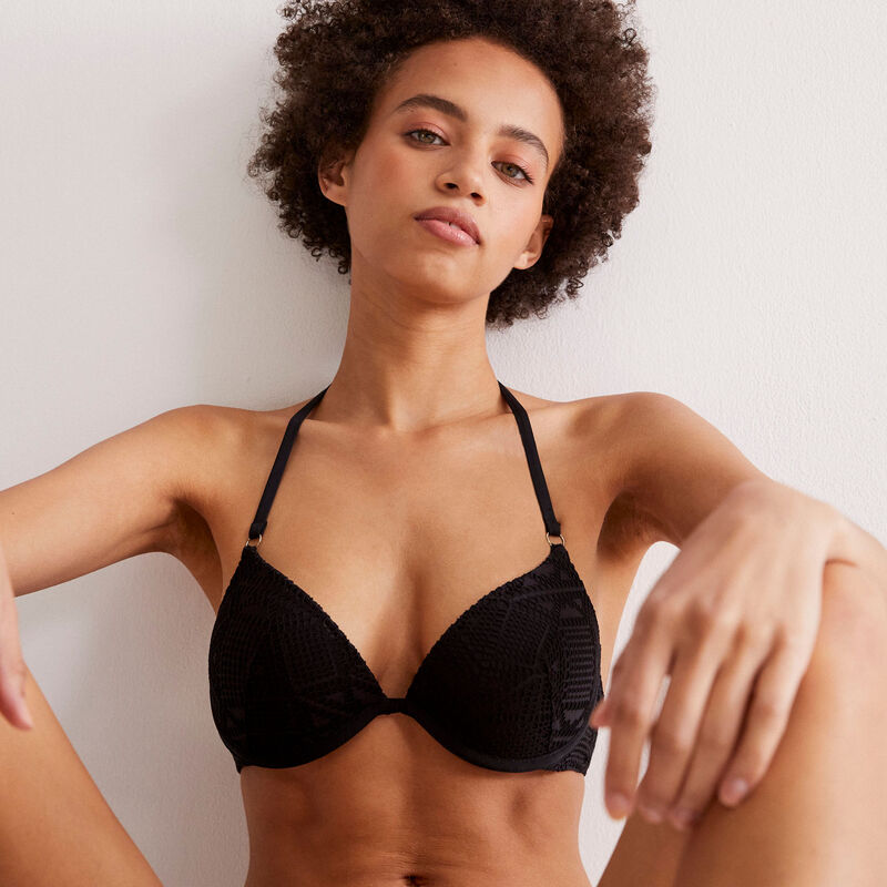 parte de arriba de bikini push-up de ganchillo con espalda abierta - negro;