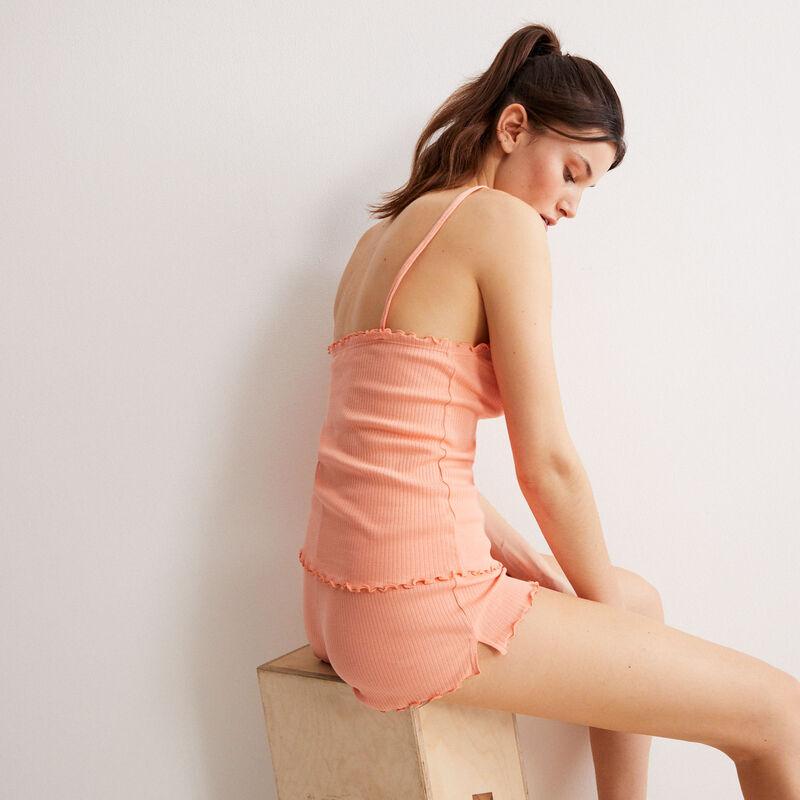 conjunto de pijama de camiseta sin mangas y shorts - coral;