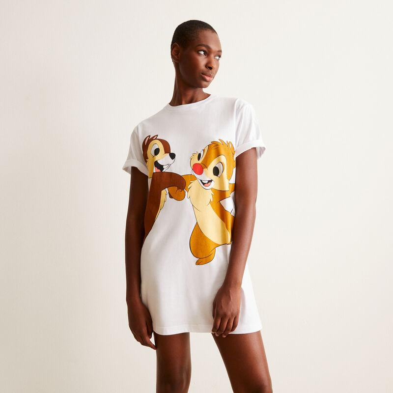 Camiseta larga con estampado Chip y Chop - blanca ;