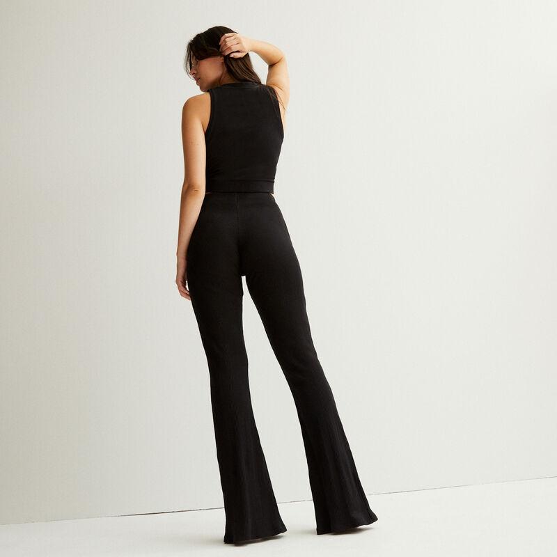 pantalón abierto en la parte delantera de talle alto - negro;