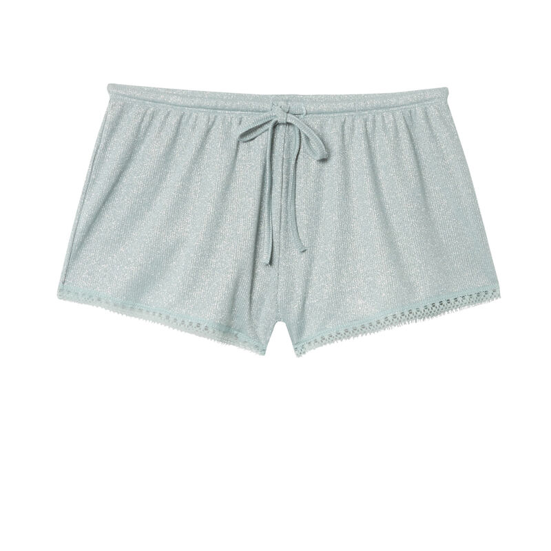 Pantalón corto de lentejuelas con bordes de encaje - verde agua;